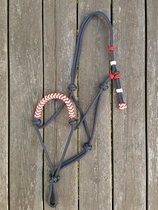 Braided rope halter with knot adjustment - Pony, Navy blue