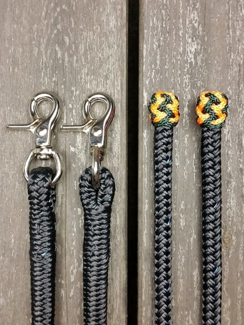 Split reins with permanent snaps and end knots