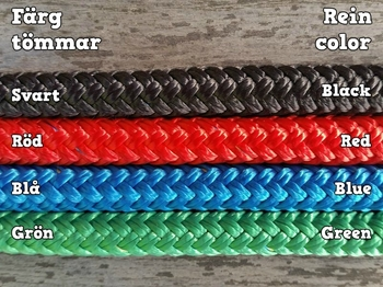 Long split reins with rope connectors  and back splices - 10 mm
