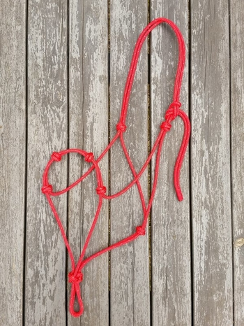 Standard rope halter with extra nose knots - Full, Red
