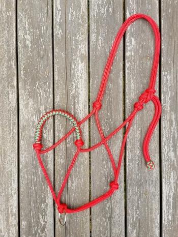 Flätad repgrimma med ledrepsring - Cob, Röd