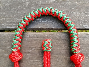 Braided rope halter with lead rope ring - Cob, Red
