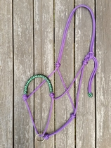 Braided rope halter with running lead rope ring - Full, Purple