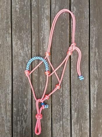 Flätad repgrimma med löpande repfäste - Ponny, Rosa