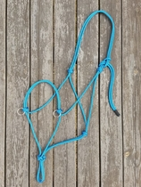 Sidepull rope halter with rings - X-full, Blue
