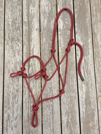 Sidepull rope halter with loops - Cob, Burgundy