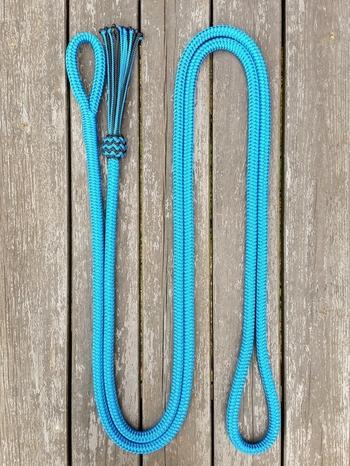 Ledrep med ögla och tofs - 14 mm, 3,70 m, Blå