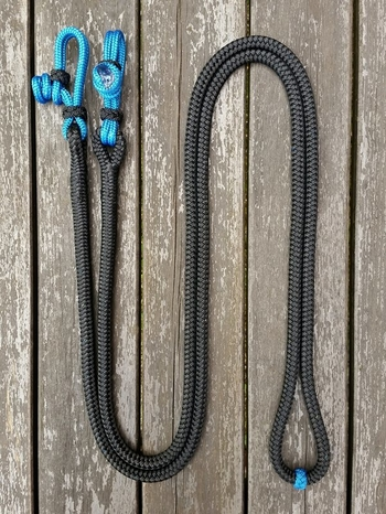 Loop reins with rope connectors and middle marker - 10 mm, 2,60 m, Black